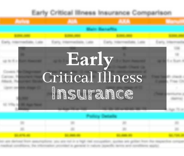 early critical illness insurance comparison singapore