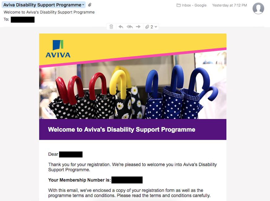 Aviva Registration Proof